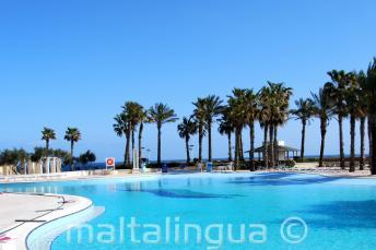 Бассейн с видом на море в Hilton Мальта