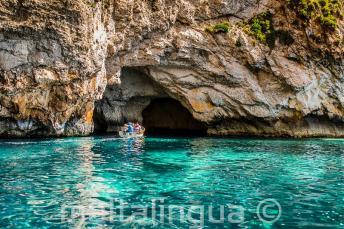 Аквамариновые воды в Голубом Гроте, Мальта